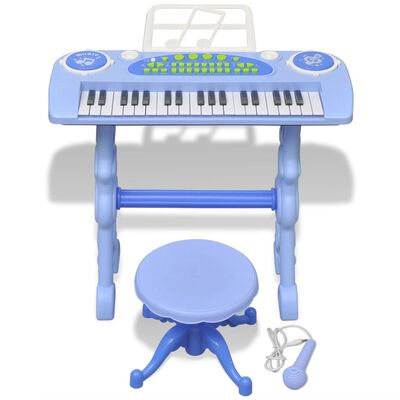 vidaXL Speelgoedkeyboard met krukje/microfoon en 37 toetsen blauw