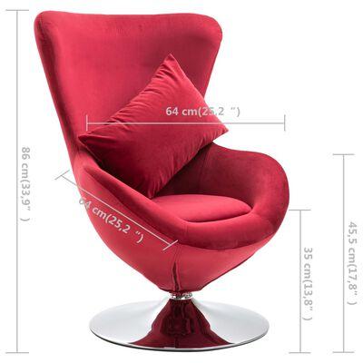 vidaXL Draaistoel eivormig met kussen fluweel rood