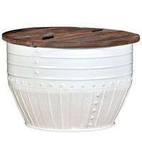 vidaXL Salontafel tonvormig massief gerecycled hout wit