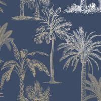 DUTCH WALLCOVERINGS Behang Tropical Trees marineblauw en zilverkleurig