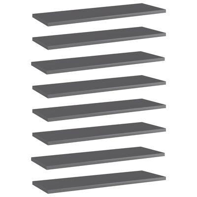 vidaXL Wandschappen 8 st 60x20x1,5 cm spaanplaat hoogglans grijs