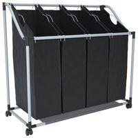 vidaXL Wassorteerder met 4 zakken zwart en grijs
