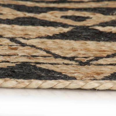vidaXL Vloerkleed handgemaakt met zwarte print 120 cm jute