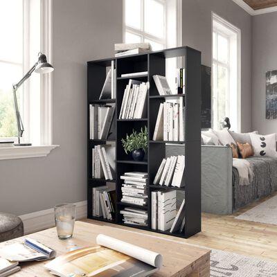 vidaXL Kamerscherm/boekenkast 100x24x140 cm spaanplaat zwart