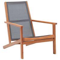 vidaXL Loungestoel massief eucalyptushout en textileen grijs