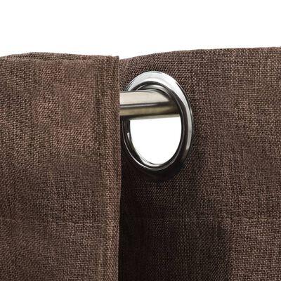 vidaXL Gordijnen linnen-look verduisterend ogen 2 st 140x225 cm taupe