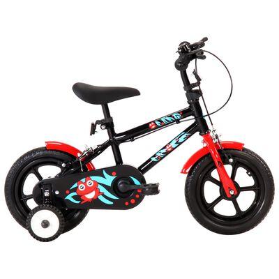 vidaXL Kinderfiets 12 inch zwart en rood