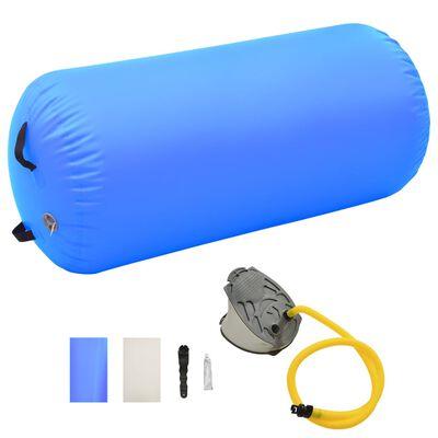 vidaXL Gymnastiekrol met pomp opblaasbaar 120x75 cm PVC blauw