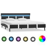 vidaXL Bedframe met LED kunstleer grijs 160x200 cm