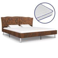 vidaXL Bed met traagschuim matras stof bruin 160x200 cm