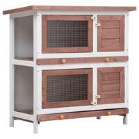 vidaXL Konijnenhok voor buiten met 4 deuren hout bruin