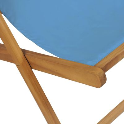 vidaXL Ligstoel 56x105x96 cm teakhout blauw