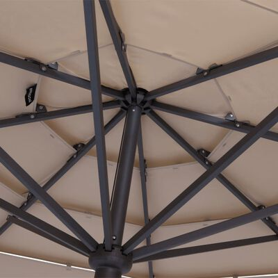 Madison Parasol Syros open structuur rond 350 cm taupe