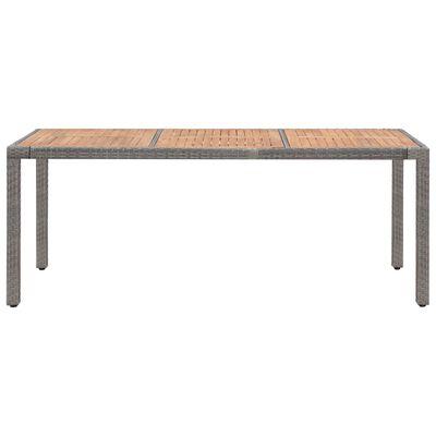 vidaXL Tuintafel 190x90x75 cm poly rattan en massief acaciahout grijs