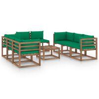 vidaXL 9-delige Loungeset met groene kussens