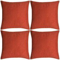 vidaXL Kussenhoezen 4 stuks linnen look terracotta 50x50 cm