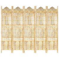 vidaXL Kamerscherm 5 panelen handgesneden 200x165 cm massief mangohout