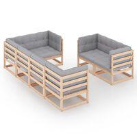 vidaXL 7-delige Loungeset met kussens massief grenenhout