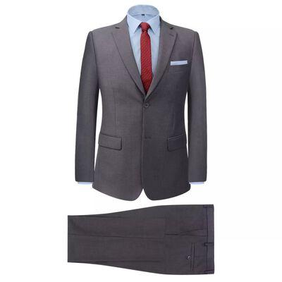 vidaXL Zakelijk pak tweedelig grijs mannen maat 46