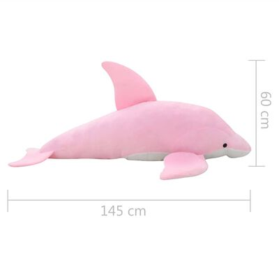 vidaXL Knuffel dolfijn pluche roze