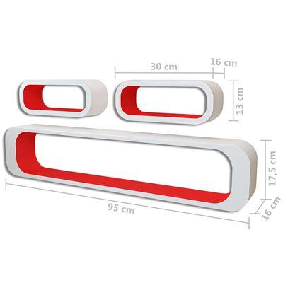 vidaXL Wandplanken kubus 6 st rood en wit , Red