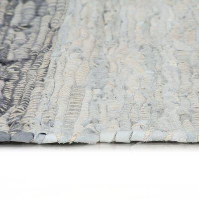 vidaXL Vloerkleed chindi handgeweven 120x170 cm leer grijs