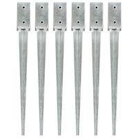vidaXL Grondpinnen 6 st 7x7x75 cm gegalvaniseerd staal zilverkleurig