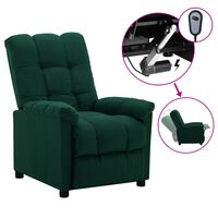vidaXL Electric Recliner Dark Green Fabric (289802+327254)