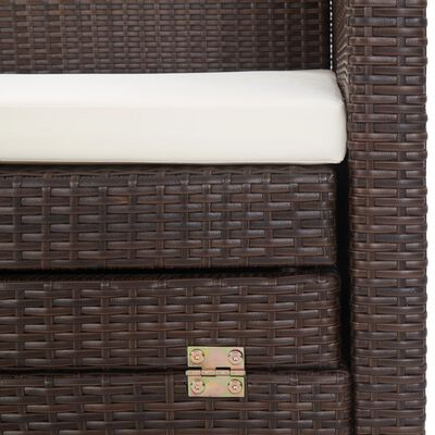 vidaXL Slaapbank met luifel 3-zits verlengbaar poly rattan bruin, Brown