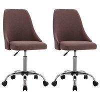 vidaXL Kantoorstoelen met wieltjes 2 st stof taupe
