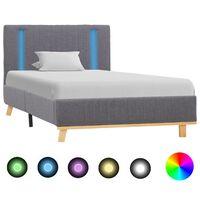 vidaXL Bedframe met LED stof lichtgrijs 90x200 cm