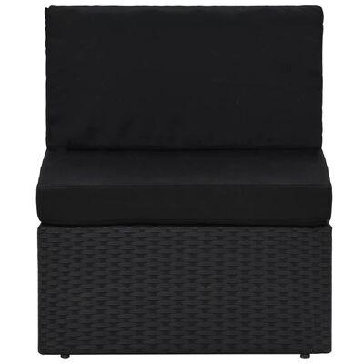 vidaXL 6-delige Loungeset poly rattan zwart