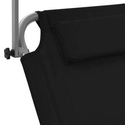 vidaXL Ligbed met luifel en wieltjes inklapbaar staal zwart