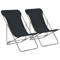 vidaXL Strandstoelen inklapbaar 2 st staal en oxford stof zwart