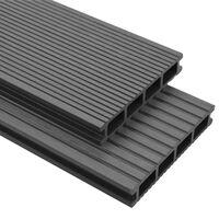 vidaXL Terrasplanken HKC met accessoires 26 m² 2,2 m grijs