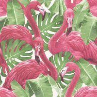 Noordwand Behang Flamingo and Monstera roze