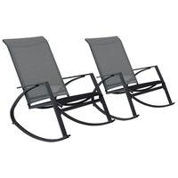 vidaXL Tuinschommelstoelen 2 st textileen donkergrijs