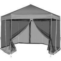 vidaXL Partytent pop-up zeshoekig met 6 zijwanden 3,6x3,1 m grijs