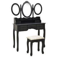 vidaXL Kaptafel met kruk en drievoudige spiegel zwart