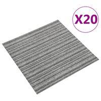 vidaXL Tapijttegels 20 st 5 m² 50x50 cm gestreept grijs
