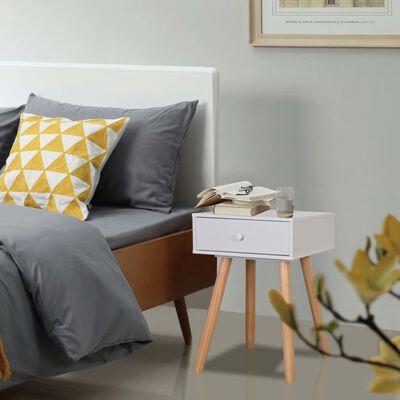 vidaXL Nachtkastjes 2 st 40x30x61 cm massief grenenhout wit