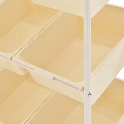 vidaXL Opbergtrolley met 9 bakken kunststof wit