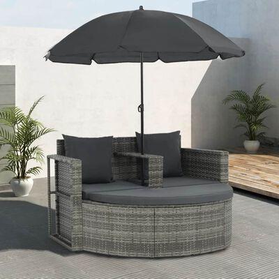 vidaXL Tuinbank 2-zits met kussens en parasol poly rattan grijs