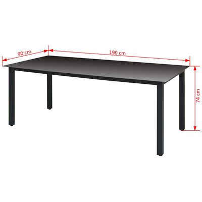 vidaXL Tuintafel 190x90x74 cm aluminium en glas zwart