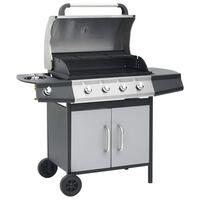 vidaXL Gasbarbecue 4+1 kookzone staal en roestvrij staal zwart zilver