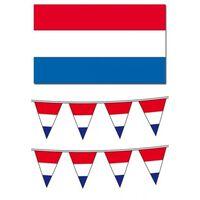 Nederlandse vlag met 2 vlaggenlijnen pakket - Straatversiering pakket