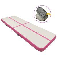 vidaXL Gymnastiekmat met pomp opblaasbaar 400x100x20 cm PVC roze