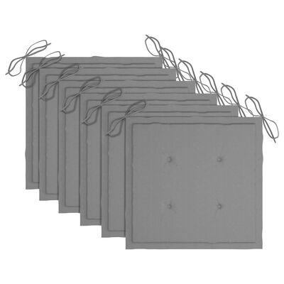 vidaXL Tuinstoelen 6 st met grijze kussens massief teakhout
