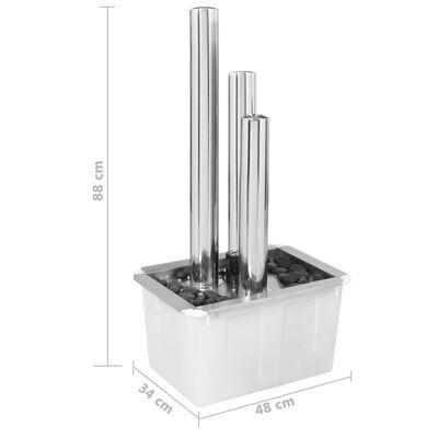 vidaXL Tuinfontein 48x34x88 cm roestvrij staal zilverkleurig