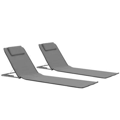vidaXL Strandmatten inklapbaar 2 st staal en stof grijs
